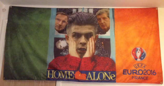This Home Alone flag will hopefully get on the right plane and make it to France