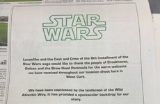 The Star Wars crew took out a newspaper ad to thank the people of West Cork