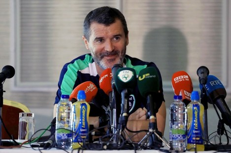 Keane speaking to the media in Cork earlier today.