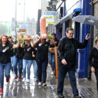This hen party took a unique approach to sheltering themselves from the Dublin rain