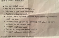 This teen's demanding relationship contract is going viral