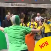 This Irish lad challenged a Swedish fan to a matador dance off in Paris