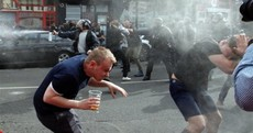 French police fire tear gas at English soccer fans in Lille
