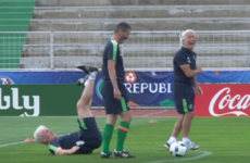 Roy Keane put Ireland goalkeeping coach Seamus McDonagh on his arse during training today