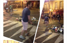 This Irish fan led a one-man cleanup after the street party in Bordeaux last night