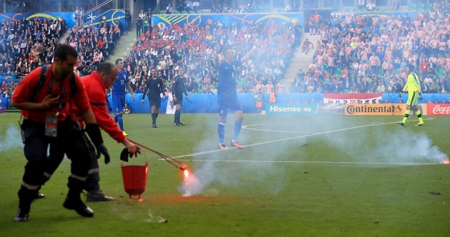 Croatian fans force match to be stopped - and then Czechs snatch 94th-minute equaliser