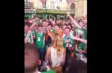 This French girl was treated to a romantic serenade by hundreds of Irish lads in Bordeaux