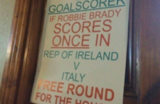A Kildare pub offered free pints 'if Robbie Brady scores once against Italy'