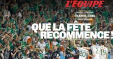 Que la fête recommence! L'Équipe's front page makes for pretty sweet reading