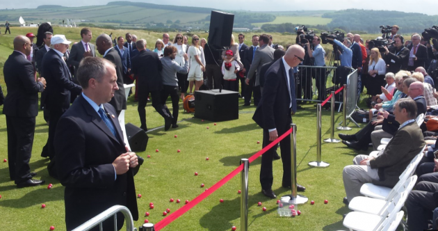Watch: Protester throws Nazi-themed golf balls at Trump in Scotland