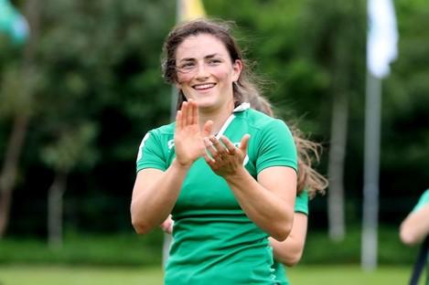 Ireland's Lucy Mulhall celebrates.