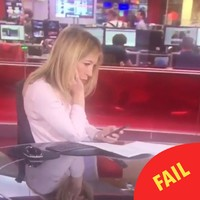 A BBC newsreader was caught texting at the desk but totally styled it out