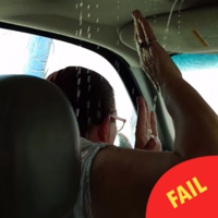 This mam forgot to close her sunroof before a car wash, and got VERY sweary