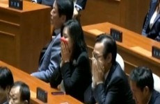 Watch: Lawmakers throw tear gas in South Korean parliament