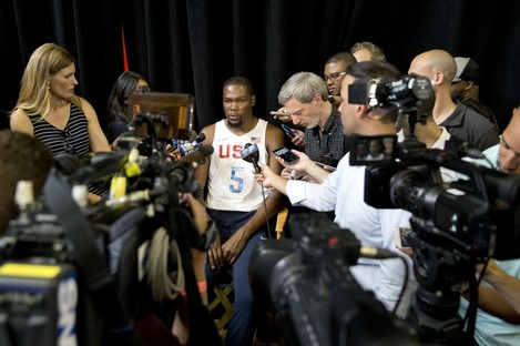 rio-bound Kevin Durant faces the press this week.