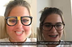 This girl realised she looked exactly like the nerdy Snapchat filter and it's gas