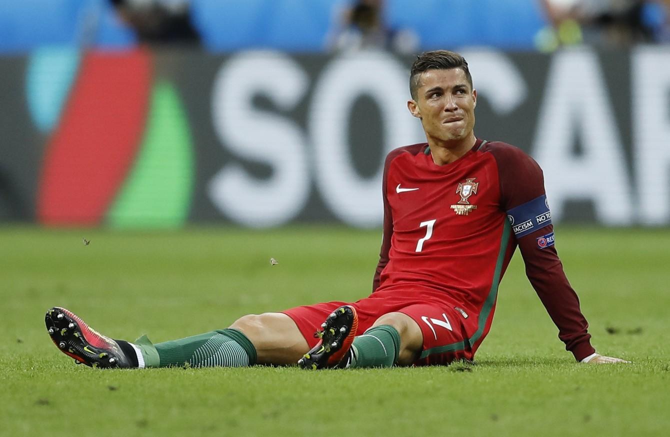Tearful Cristiano Ronaldo stretchered off during Euro 2016 final · The42