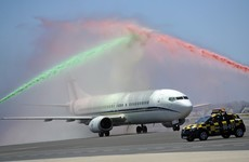 The new European champions were welcomed back to Lisbon by coloured water cannons