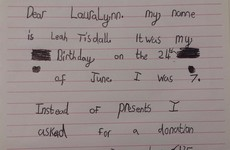 This little girl asked for a donation to an Irish charity instead of birthday presents