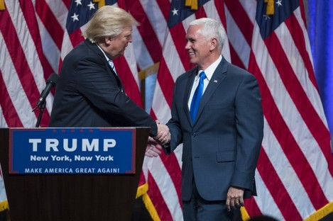 Republican presidential candidate Donald Trump introduces Mike Pence.