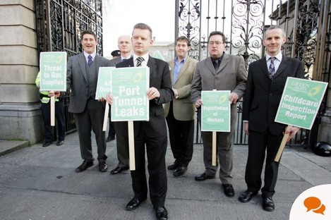 File photo of Green Party TDs outside the Dáil in 2006
