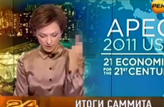 Russian newsreader sacked after giving Obama the finger - live on air
