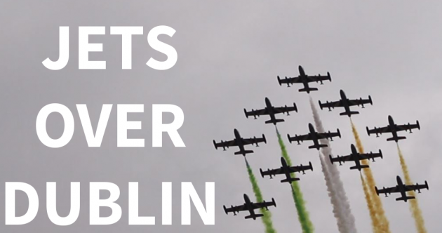 Watch: Did you spot these jets flying low over Dublin city centre?