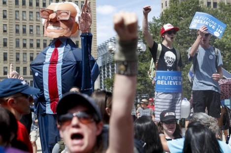 Protests get underway at the Democratic National Convention.
