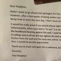 This guy arrived home to the soundest note from his neighbour about loud sex