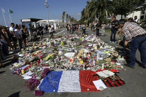 A shrine in Nice to the victims of the attacks.