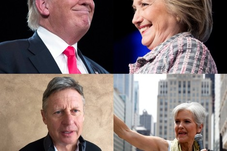 Clockwise from top left: Donald Trump, Hillary Clinton, Jill Stein and Gary Johnson