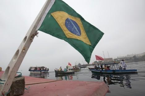 Brazil fishermen protest the water around Rio.