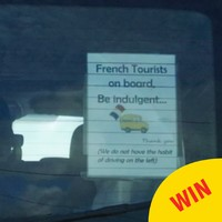 A group of French tourists stuck up this class note when driving around Galway