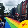 Grand Parade in Cork was covered by a gigantic rainbow flag for Pride today