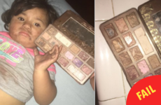 A little girl scoffed her auntie's expensive eyeshadow because it smelled like chocolate