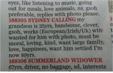 An Irish grandparent put an ad in Ireland's Own to find a wife for their 25-year-old grandson