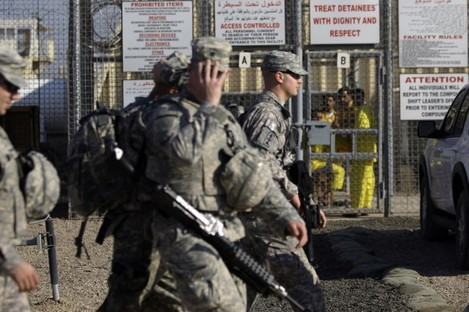 In this 2009 photo, US soldiers are seen at the jail in Taji. The jail was attacked by a suicide bomber this morning.