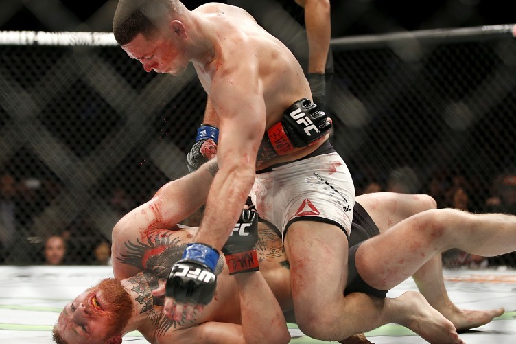 Nate Diaz en route to victory against Conor McGregor at UFC 196 in Las Vegas last March.