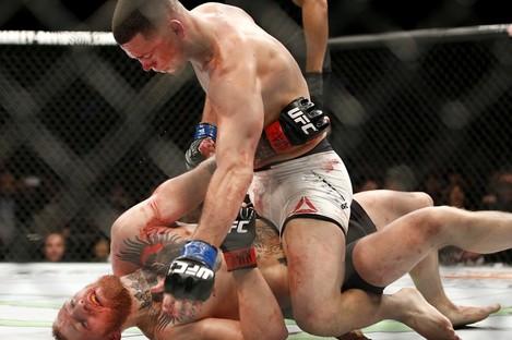 Nate Diaz en route to victory against Conor McGregor at UFC 196 in Las Vegas last March.