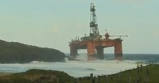 Oil rig blown ashore during severe weather