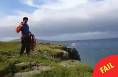 This guy's failed attempt at climbing on the Irish coast is going super viral