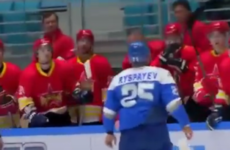 One-man fight rampage ended this pre-season ice hockey game after just three minutes