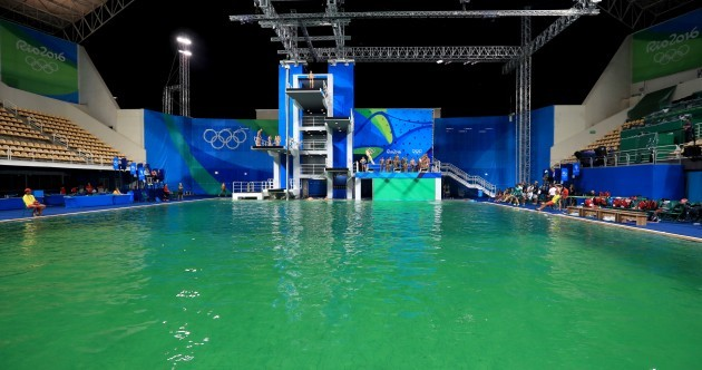 One of the pools at the Olympics has turned green and the Irish are getting blamed