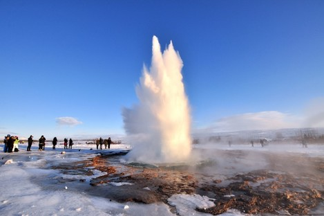 Rising from the underground: a geyser in Iceland.