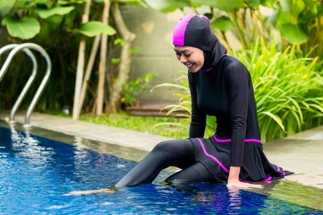 A file picture of a young woman in a burkini.