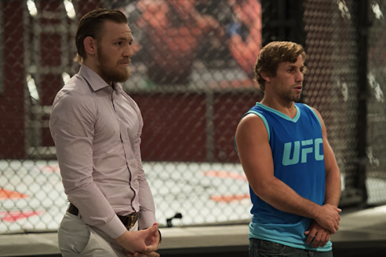Conor McGregor and Urijah Faber on the set of The Ultimate Fighter last year.
