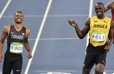 Usain Bolt and his Canadian rival so comfortable that they laughed across the finish line