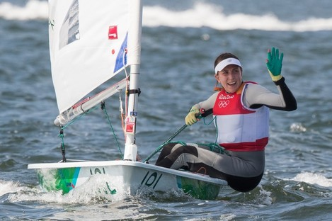 Annalise Murphy crosses the finishing line to claim a silver medal.