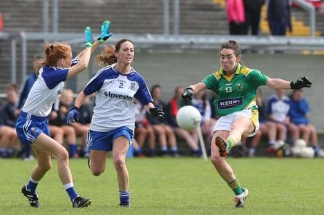 Kerry's Sarah Houlihan up against Monaghan's Grainne McNally and Rachel McKenna.