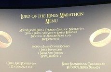 This Dublin cinema had a special menu for its Lord of the Rings marathon today